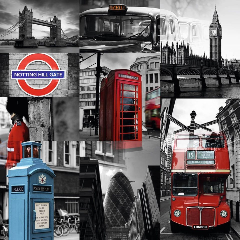 Home affaire, Deco Block »London - Photografie«, 40/40 cm in grau/rot