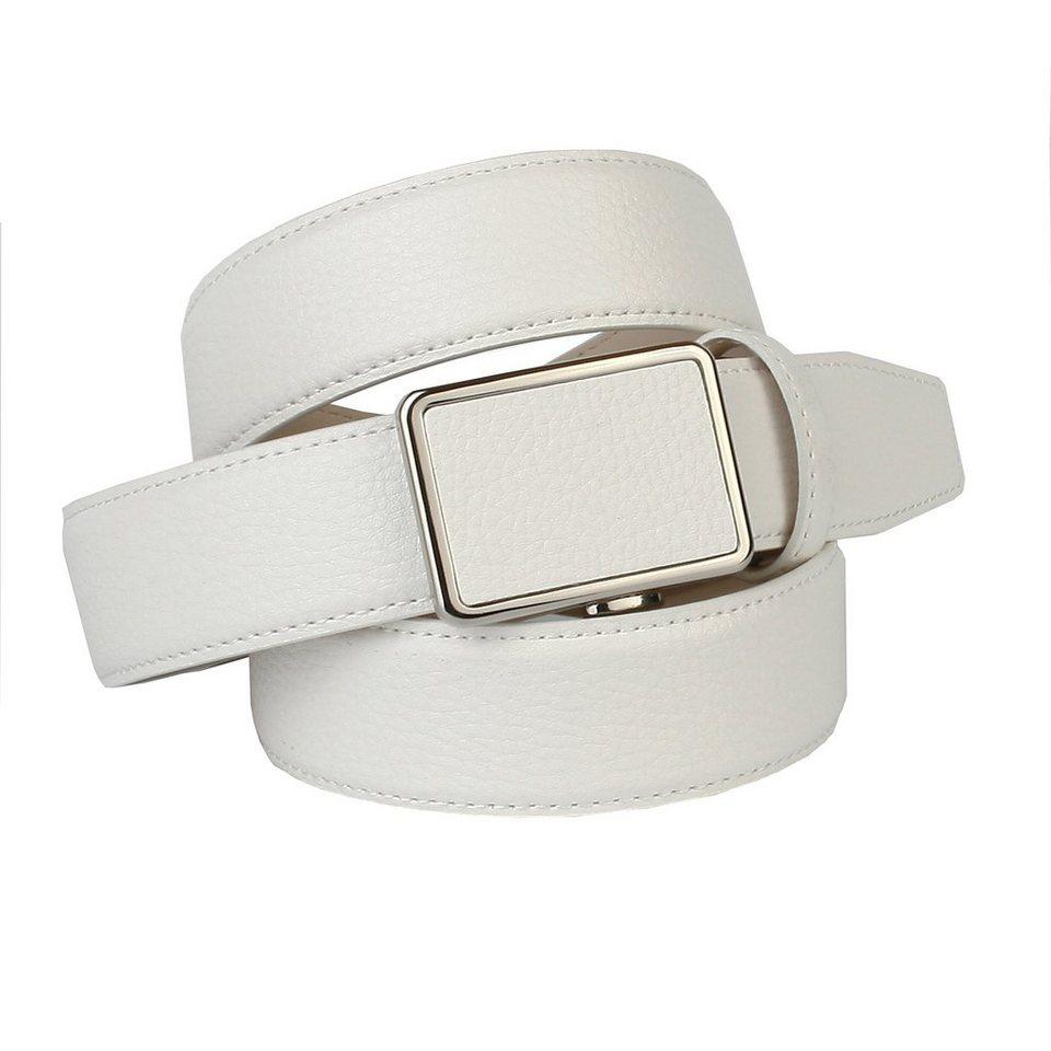 Anthoni Crown Ledergürtel genarbt in Weiß