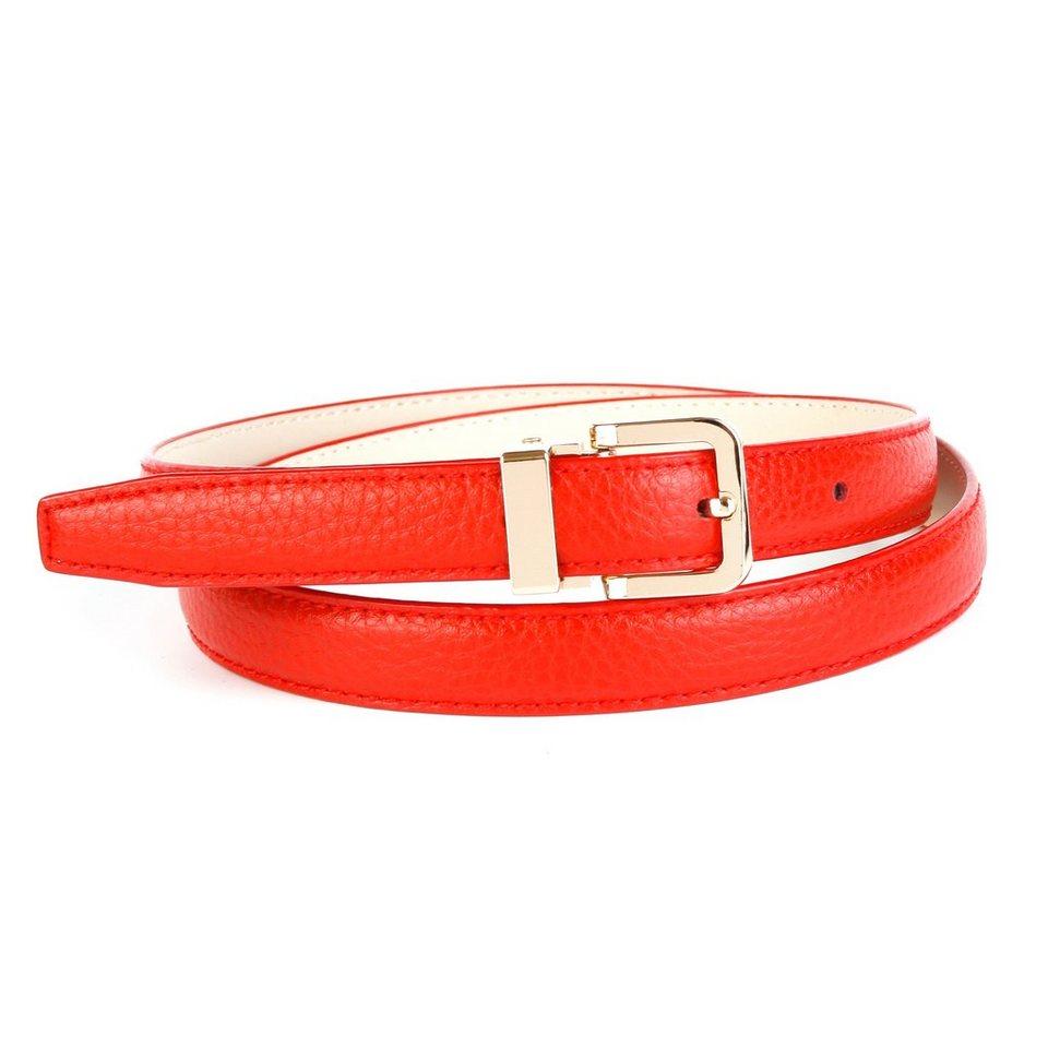 Anthoni Crown Schmaler Ledergürtel in Rot in Rot