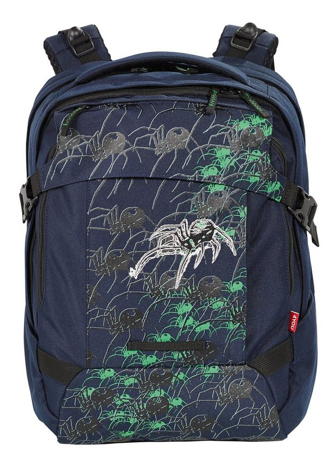 4YOU Schulrucksack, »Tight Fit - Spider« in blau