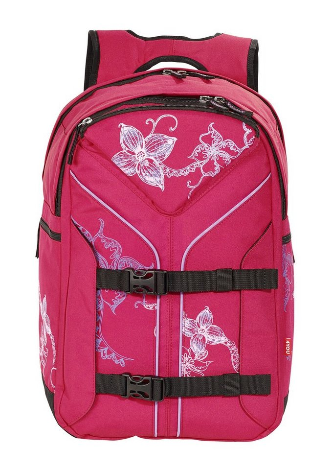 4YOU Schulrucksack, »Rucksack Boomerang Sport - Flower Lace« in rot