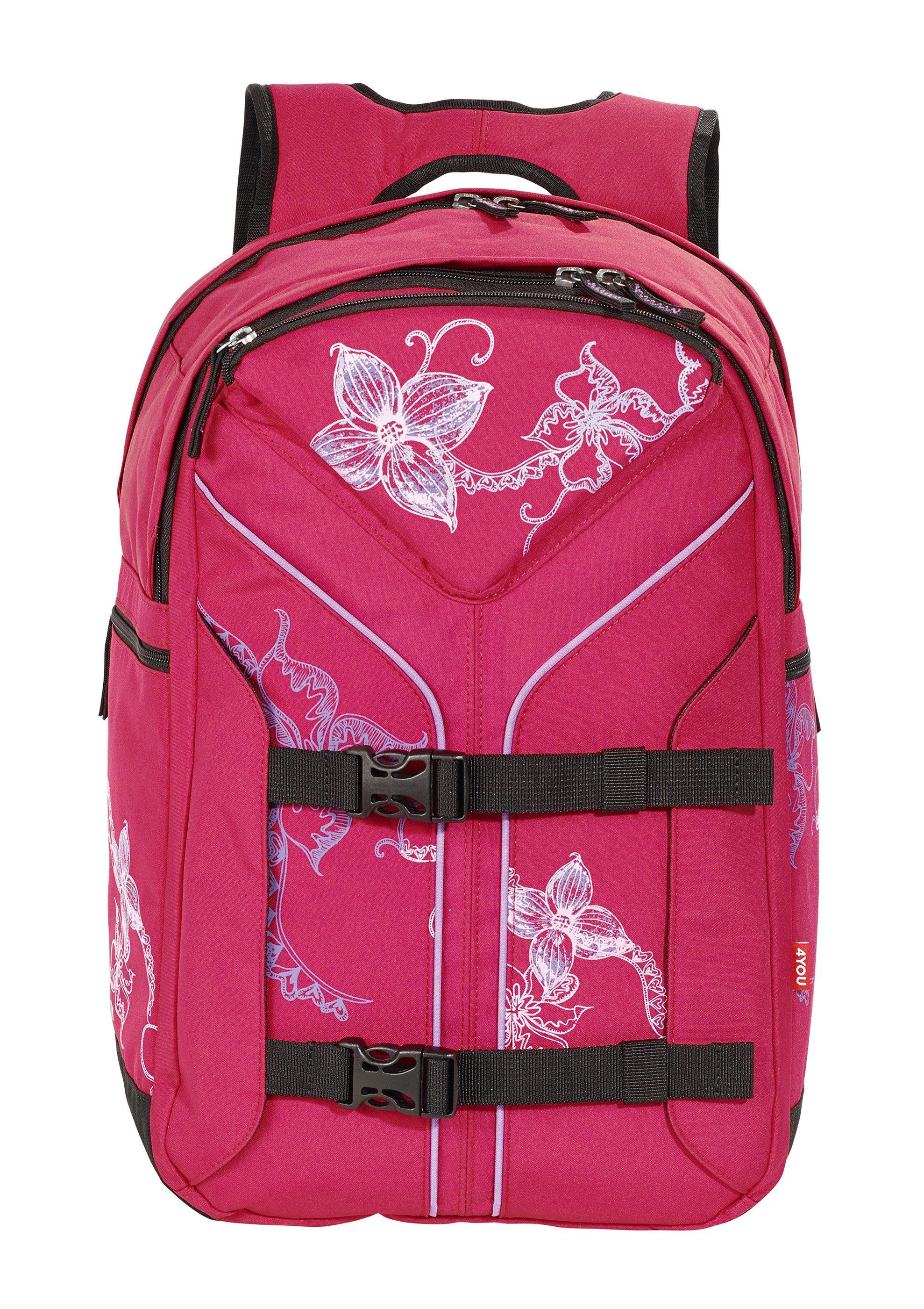 4YOU Schulrucksack, »Rucksack Boomerang Sport - Flower Lace«