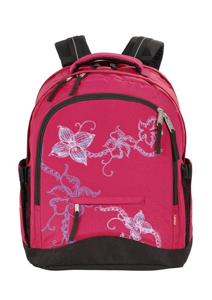 4YOU Schulrucksack, »Rucksack Compact - Flower Lace« in rot