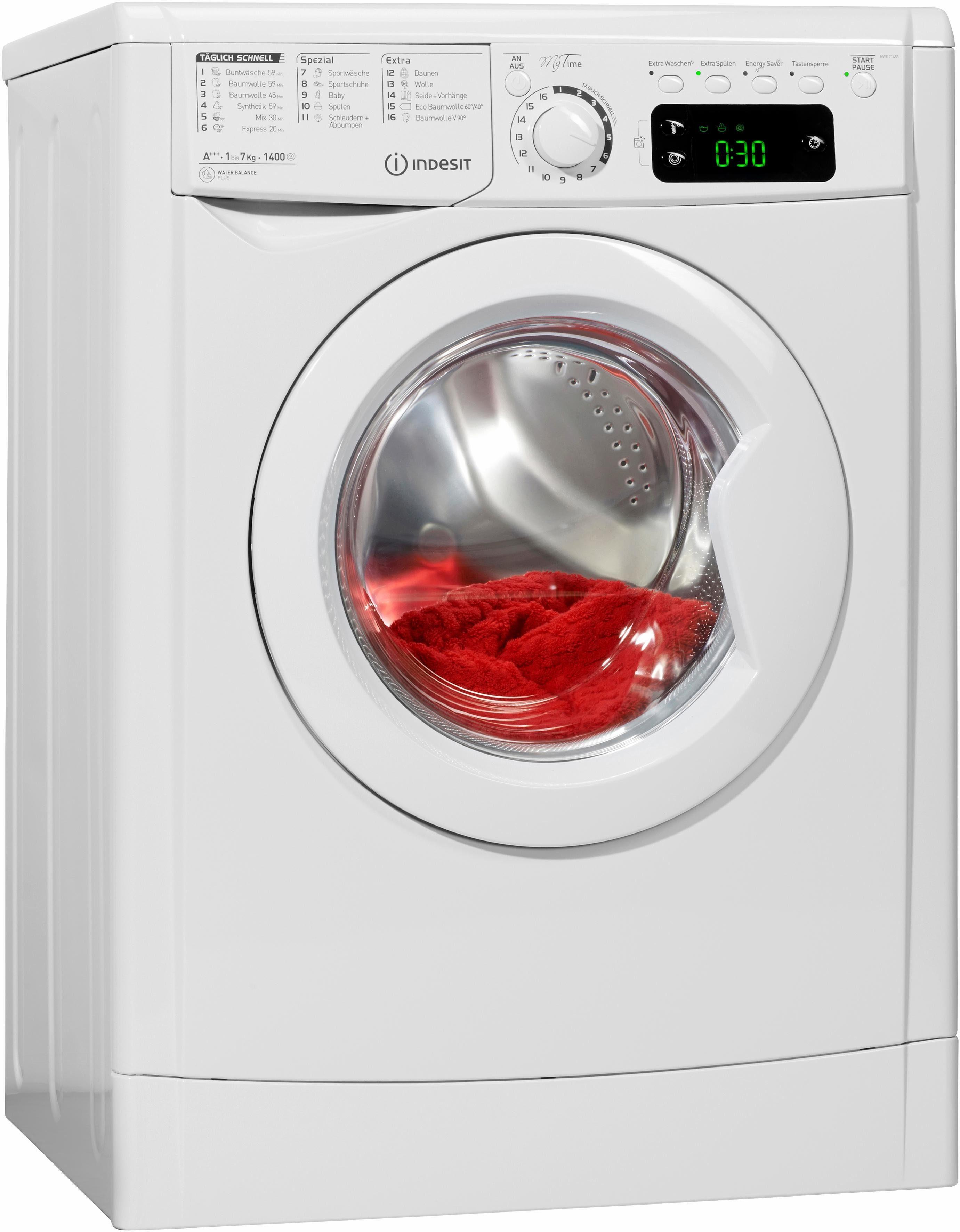 Indesit Waschmaschine EWE 71483 W DE, A+++, 7 kg, 1400 U/Min