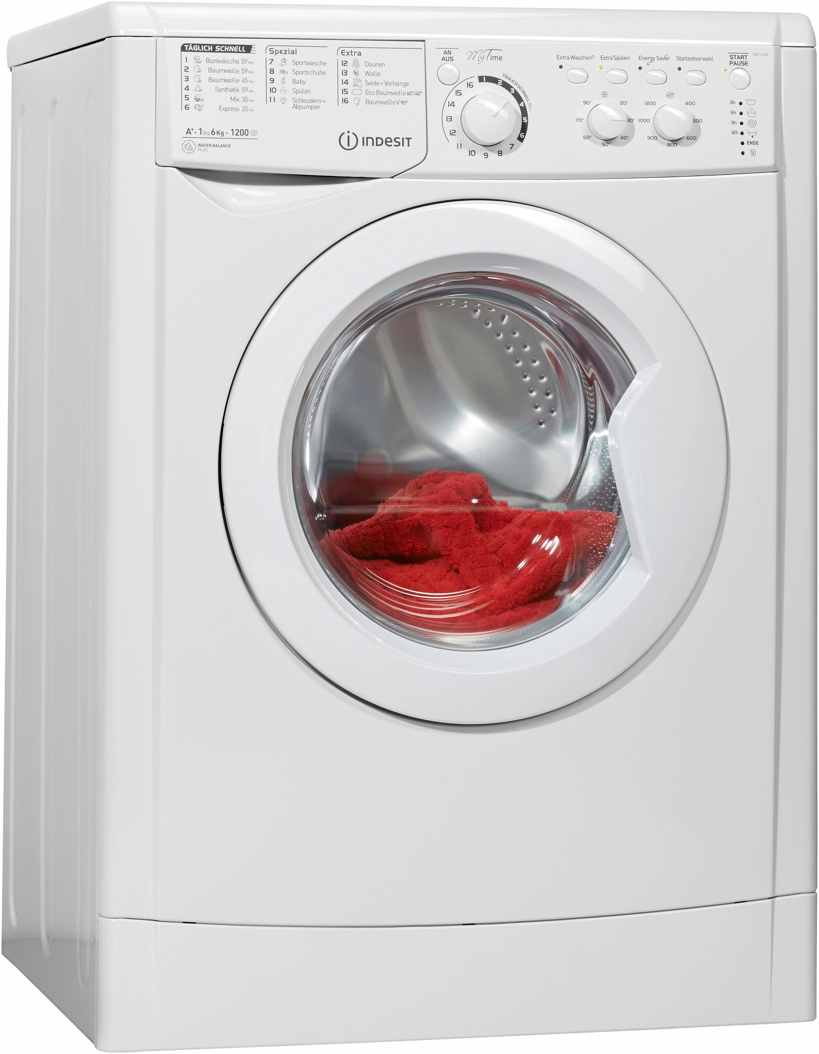 Indesit Waschmaschine EWC 61281 W DE, A+, 6 kg, 1200 U/Min