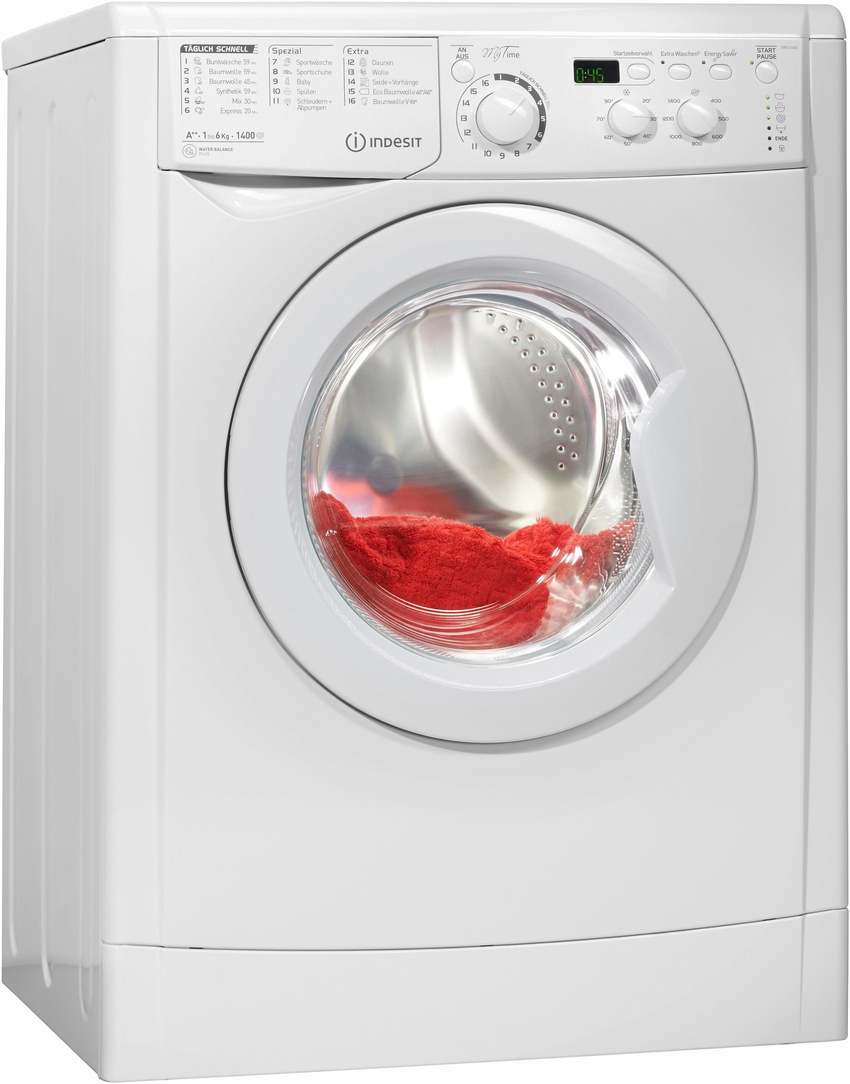 Indesit Waschmaschine EWD 61482 W DE, A++, 6 kg, 1400 U/Min
