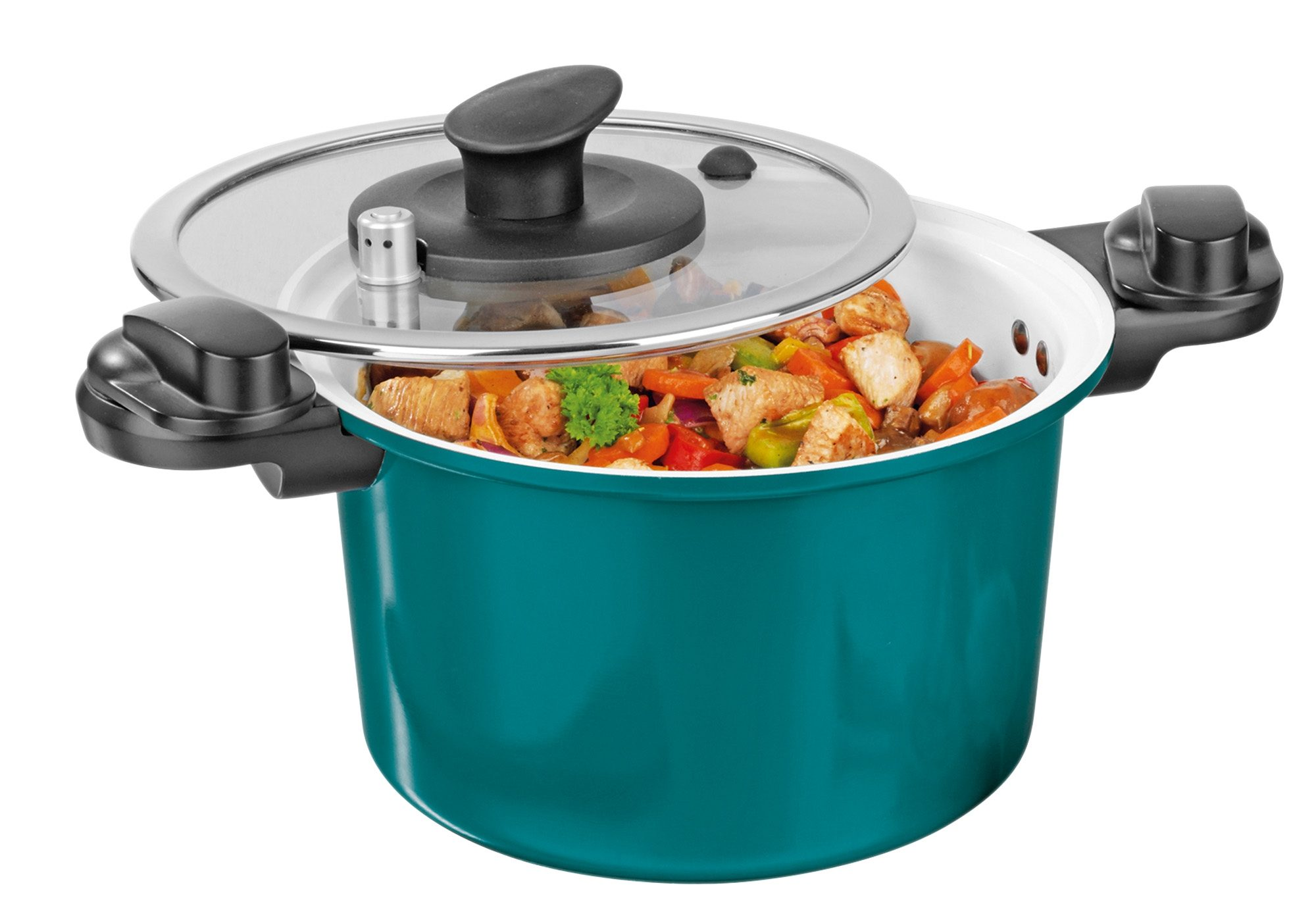 BRATmaxx Energiespartopf, Keramik 6 Liter, smaragdgrün