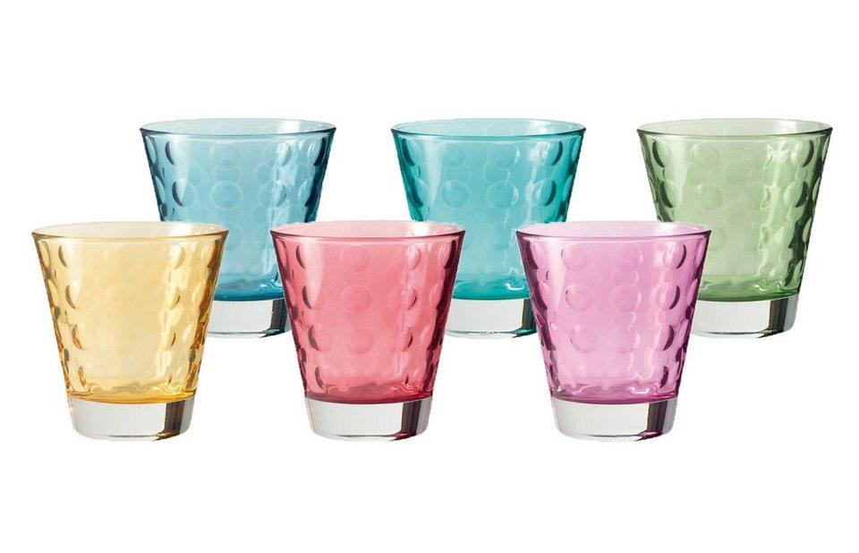LEONARDO Becher-Set »Optic«, Glas in bunt