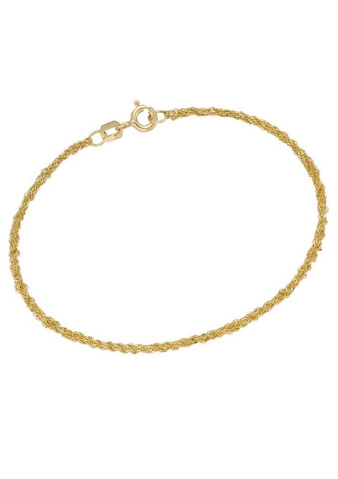 firetti Armschmuck: Armband in Singapurkettengliederung, 2-fach diamantiert in Gelbgold 375