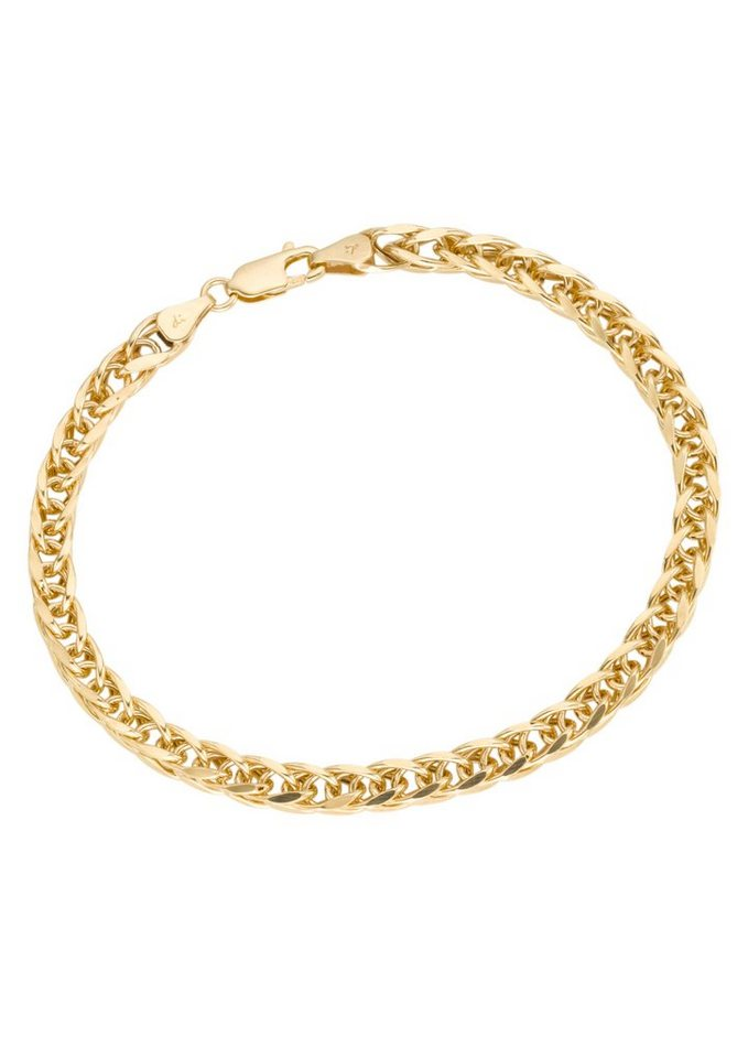 firetti Armschmuck: Armband in Zopfkettengliederung in Gelbgold 375