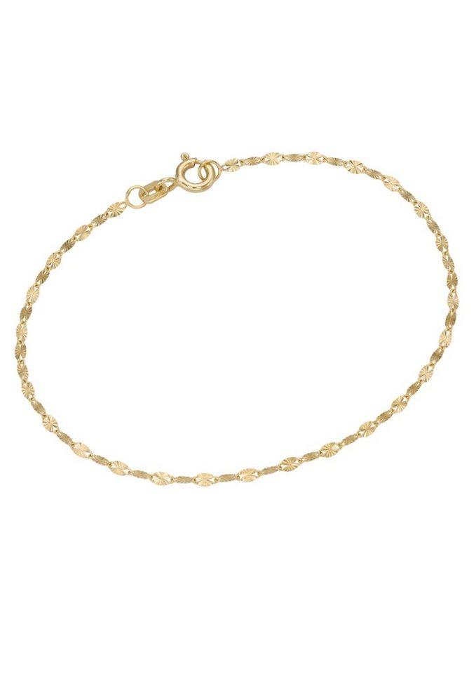 firetti Armschmuck: Armband in Plättchenkettengliederung, sterndiamantiert in Gelbgold 375