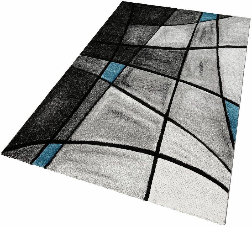 Teppich, »DOUBS«, Merinos, handgearbeiteter Konturenschnitt, gewebt in grau-blau
