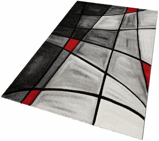 Teppich »DOUBS«, merinos, rechteckig, Höhe 13 mm, merinos, handgearbeiteter Konturenschnitt