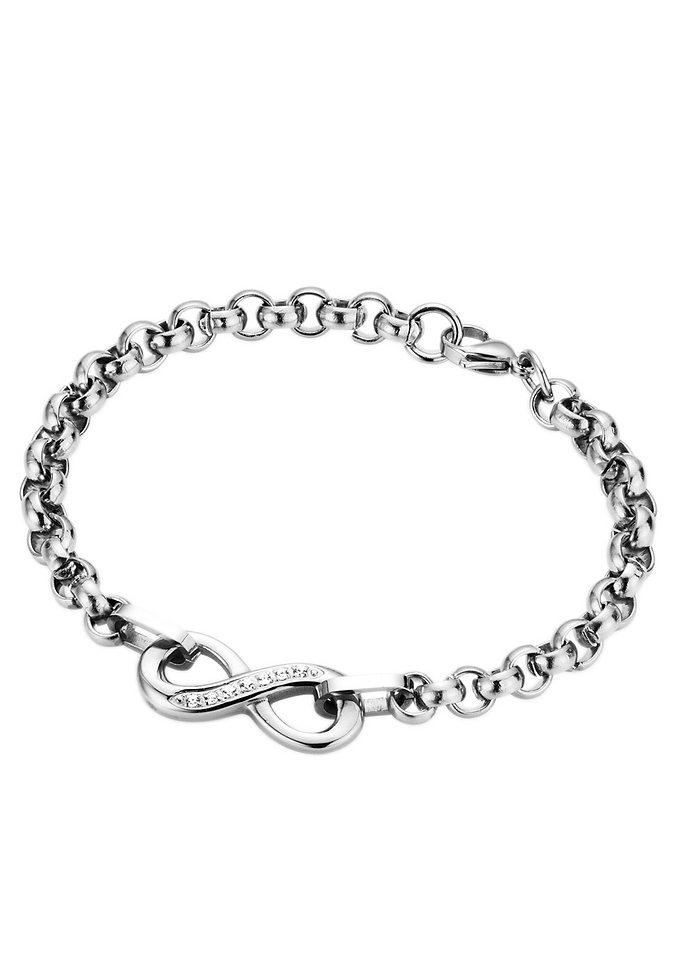 firetti Armschmuck: Armband in Erbskettengliederung mit Infinity/Unendlichkeitszeichen und Zirkonia in silberfarben