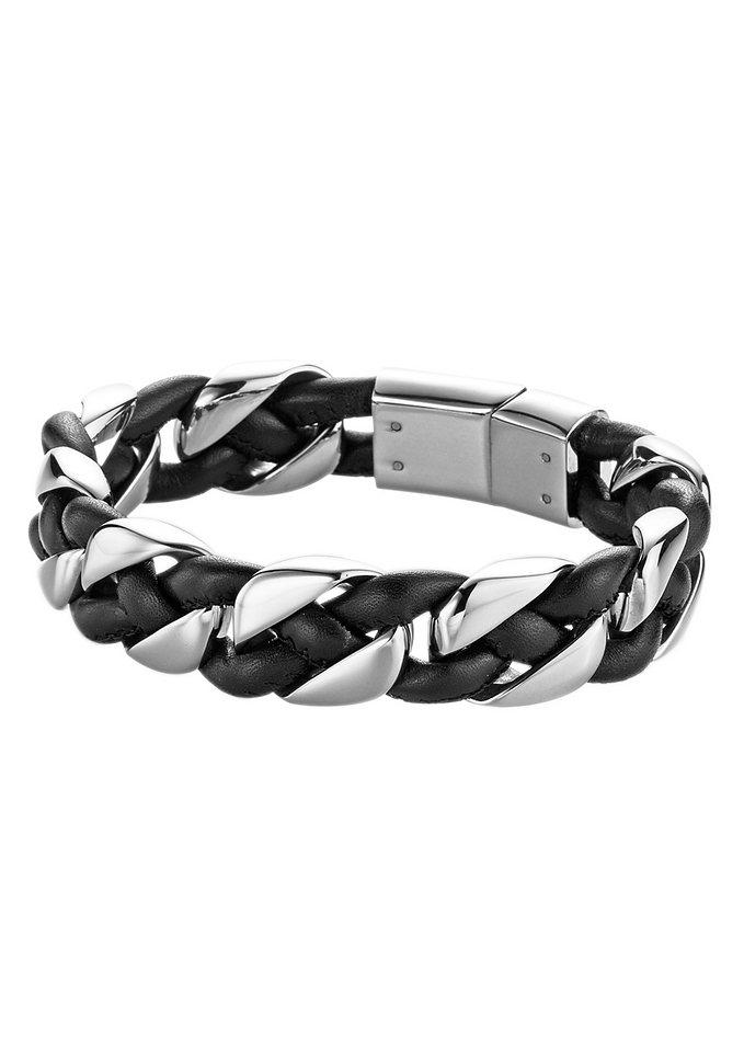 firetti Armschmuck: Armband in Panzerkettengliederung kombiniert mit Leder in schwarz/silberfarben