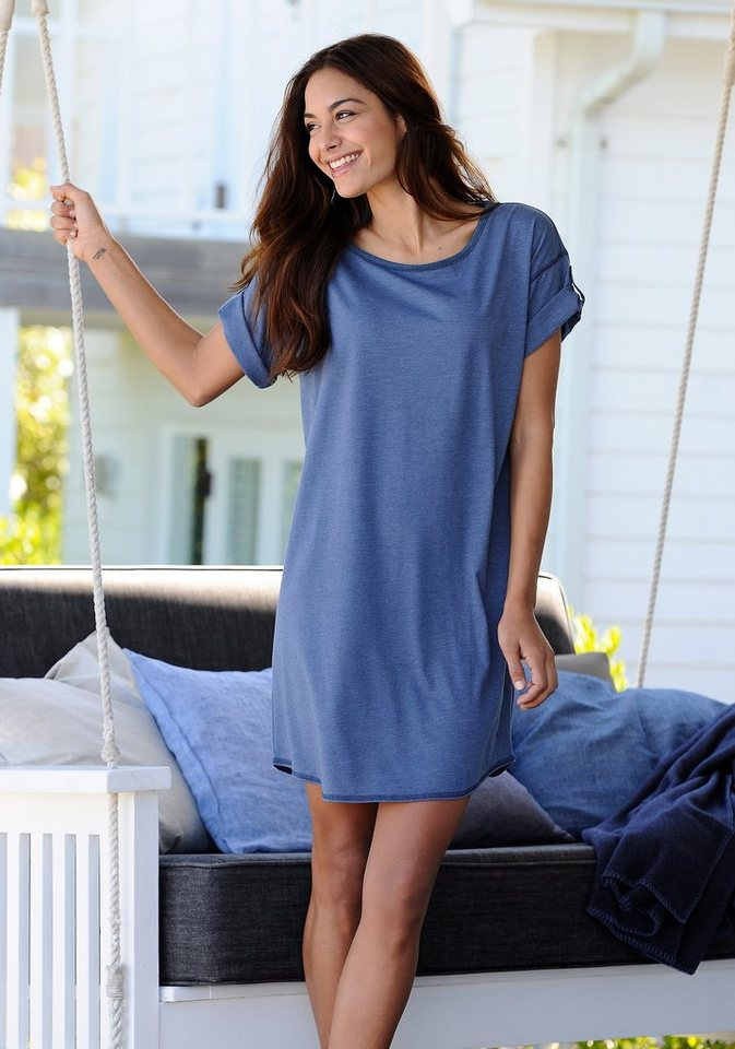 ARIZONA Meliertes Basic-Sleepshirt mit Rundhalsausschnitt in jeans meliert