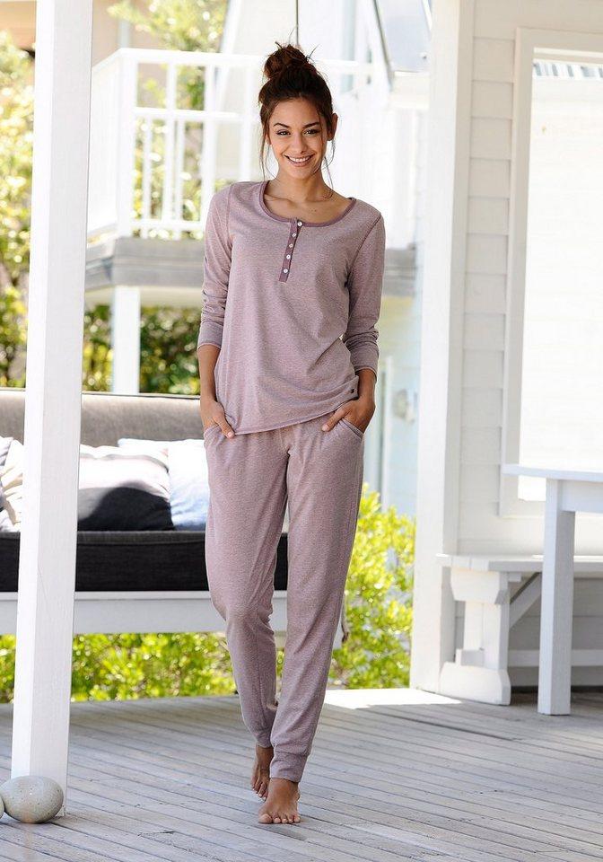 ARIZONA Basic-Pyjama in melierter Qualität mit Knopfleiste in mauve meliert