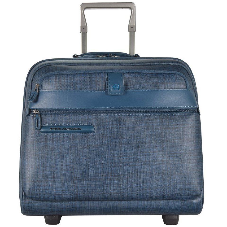 Piquadro Signo 2 2-Rollen Business Trolley Leder 43 cm Laptopfach in stahlblau