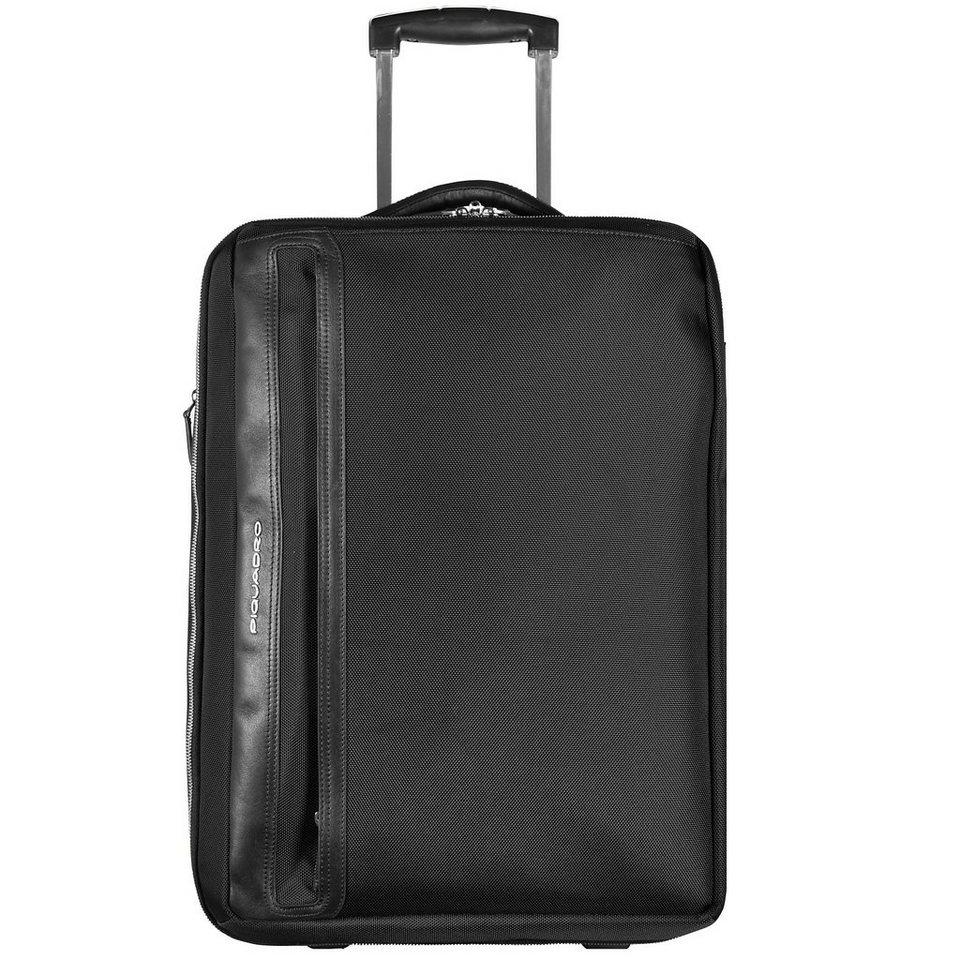 Piquadro Link 2-Rollen Business Trolley Leder 52 cm Laptopfach in schwarz