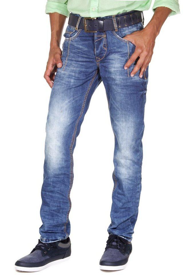 R-NEAL Jeans Regular Fit in blau/orange