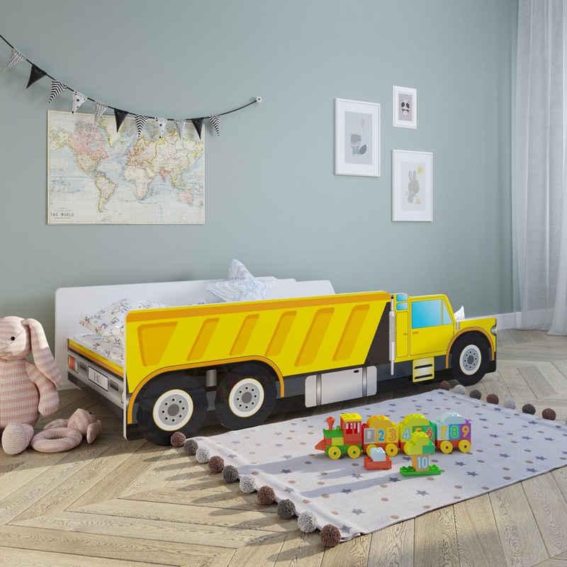 Kids Collective Autobett »Kinderbett Jugendbett Baustelle in 70x140 80x160 mit Rausfallschutz«, optional mit Matratze, Spielbett Auto Bett, in 140x70 und 160x80, bis 10 Jahre