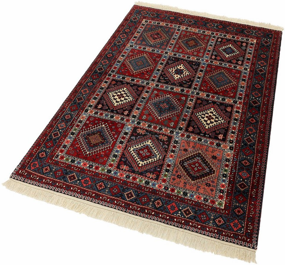 Unikat-Teppich, Parwis, »Persicher Yalameh Boxes«, 200 000 Knoten/m², Schurwolle in rot