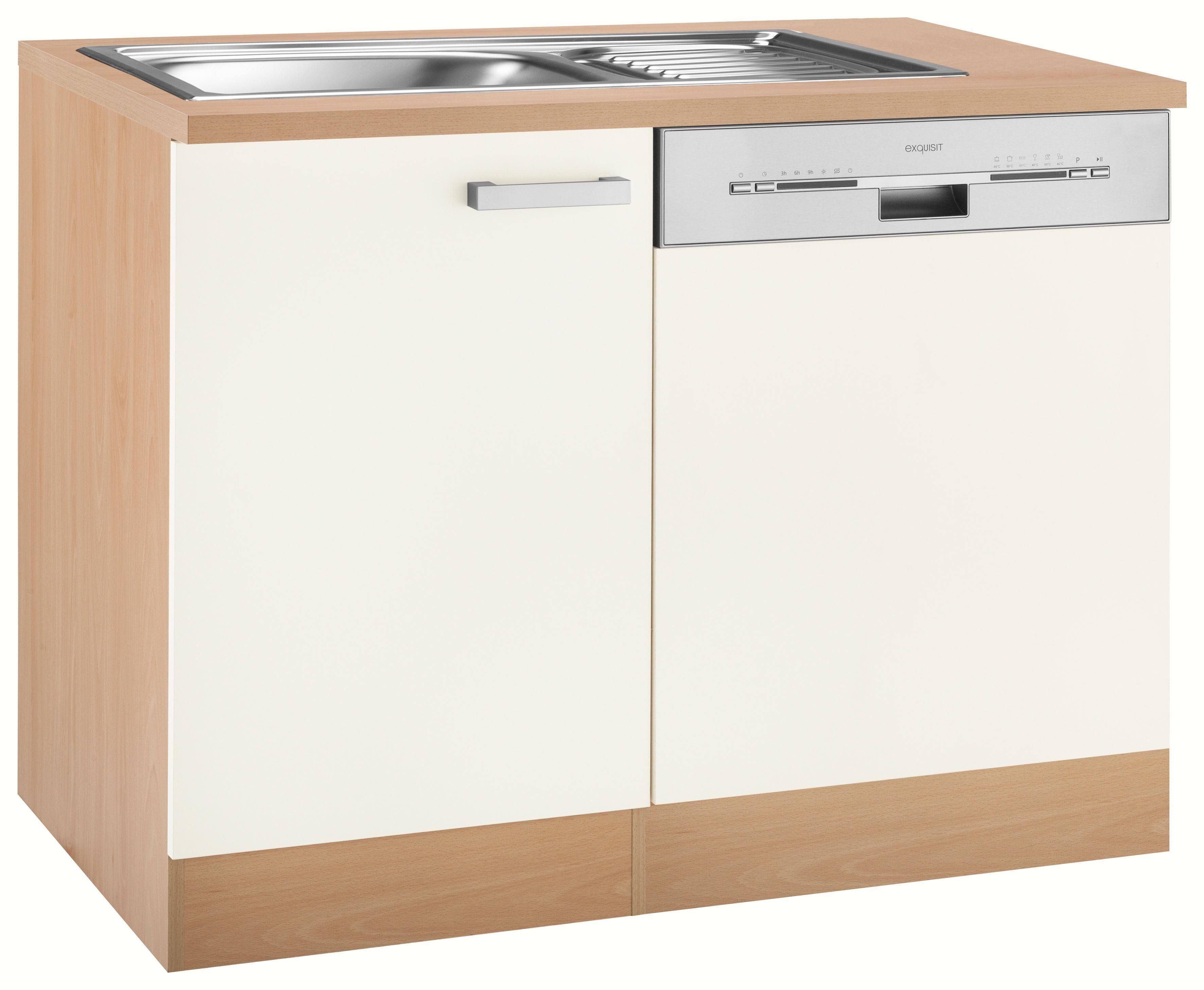Spülenschrank »Odense«, OPTIFIT, mit Tür/Sockel für Geschirrspüler | Küche und Esszimmer > Küchenschränke > Spülenschränke | Rot | Nachbildung - Edelstahl - Melamin | OPTIFIT