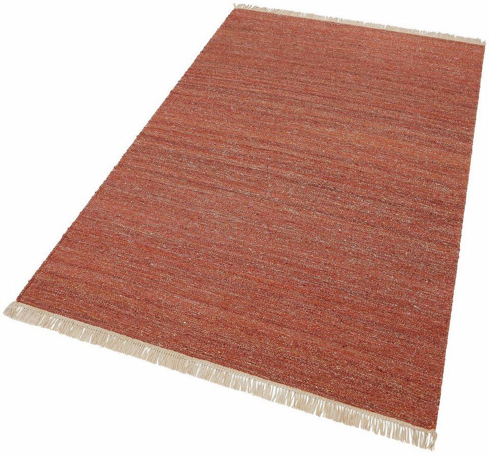 Teppich, Esprit, »Blurred«, Melange-Effekt, handgewebt in rot
