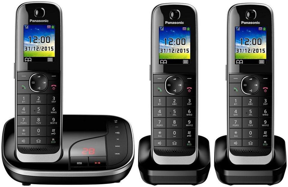 Panasonic KX-TGJ323 TRIO Schnurloses DECT Telefon-Set mit AB in schwarz