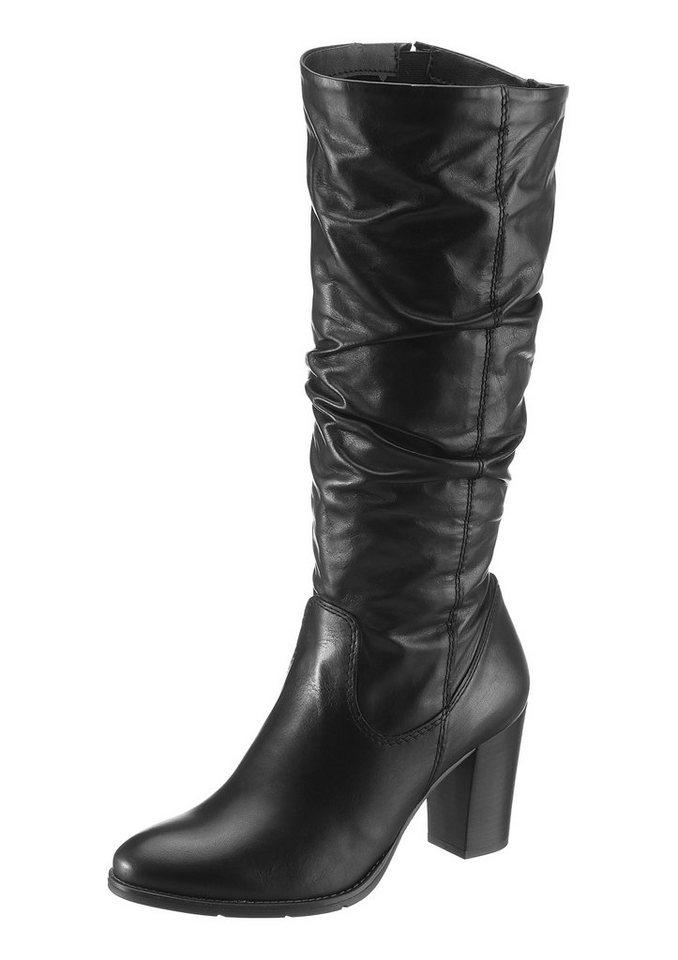Tamaris Stiefel mit modischen Raffungen in schwarz