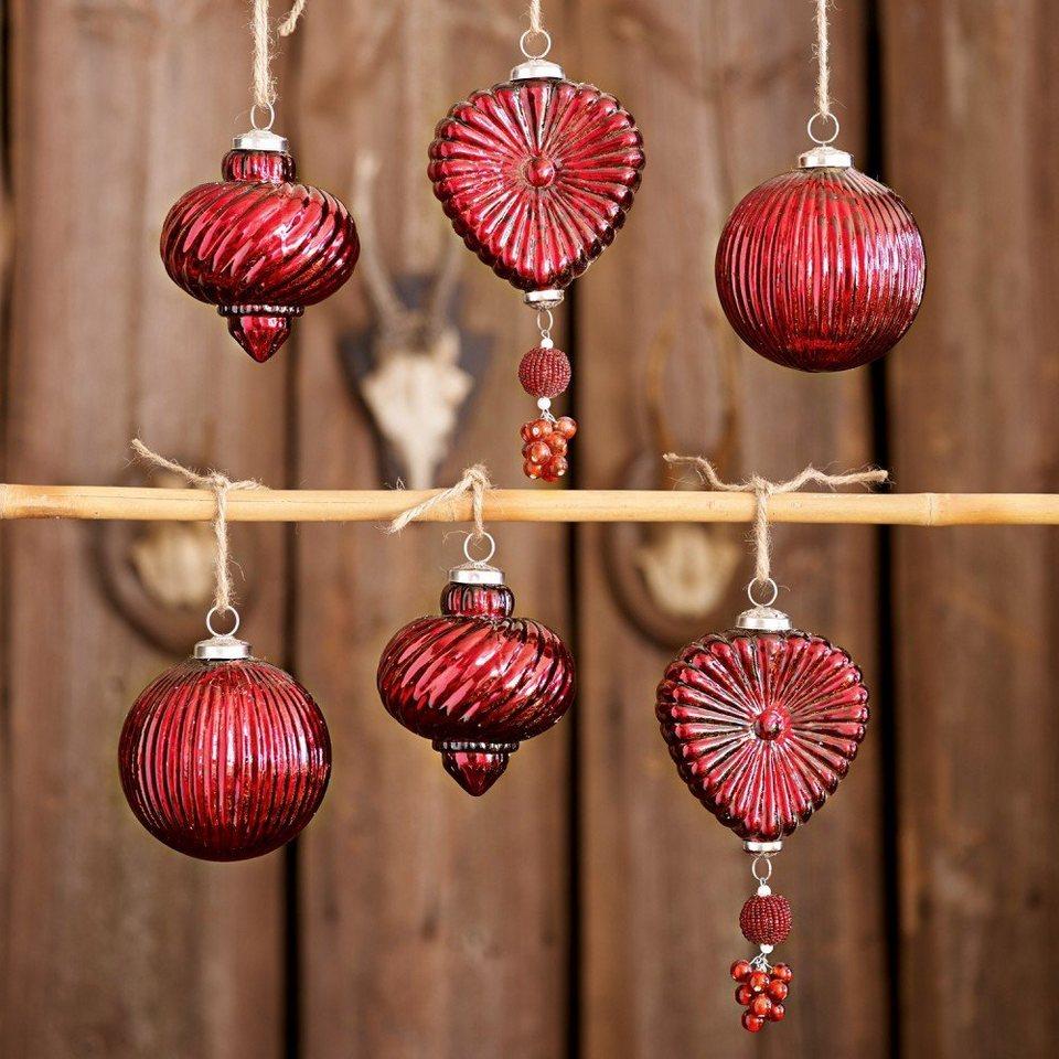 Loberon Weihnachtsschmuck 6er-Set »Fuveau« in rot