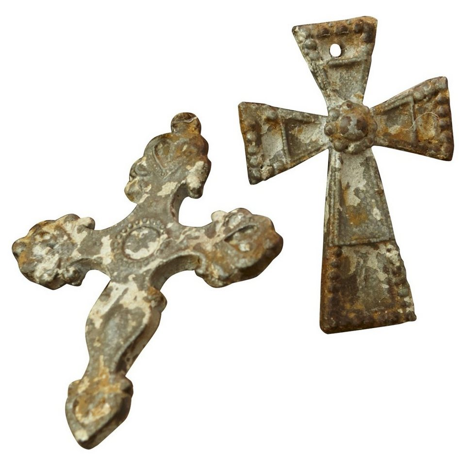Loberon Ornamente 4er Set »Cruxes« in antikgrau