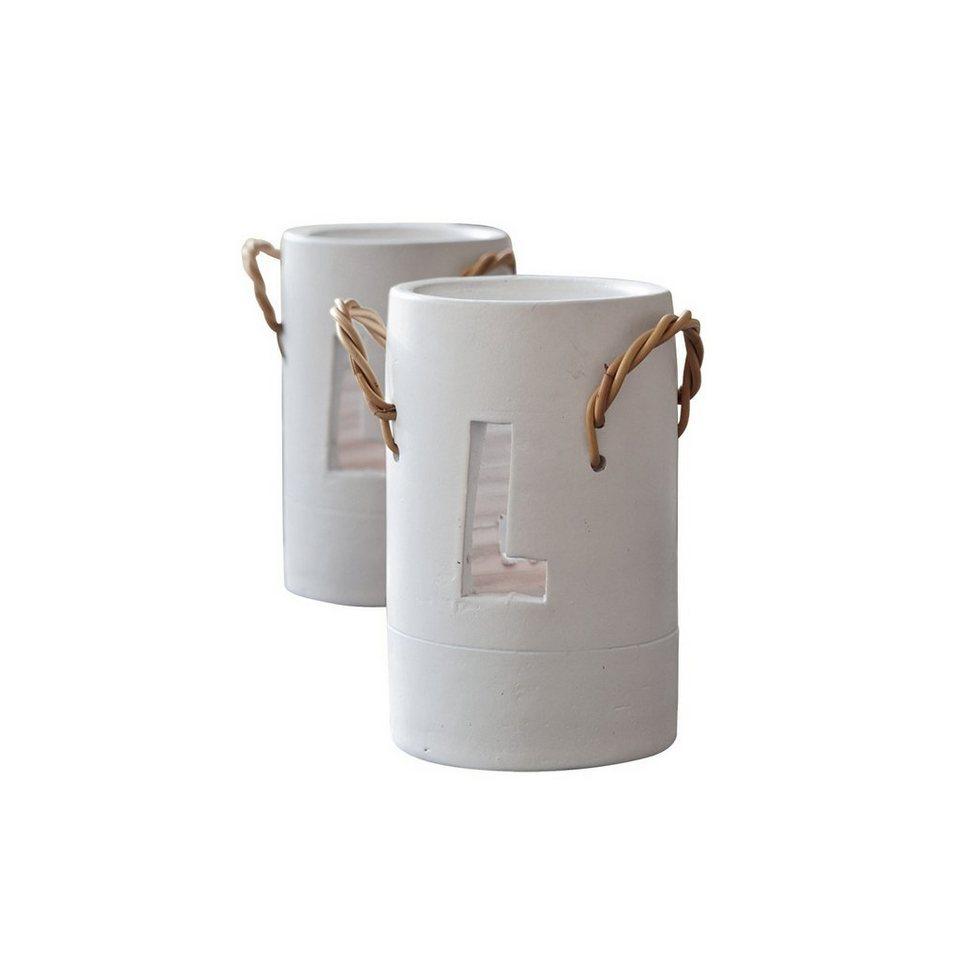 Loberon Windlicht 2er Packung »Melyn« in weiß