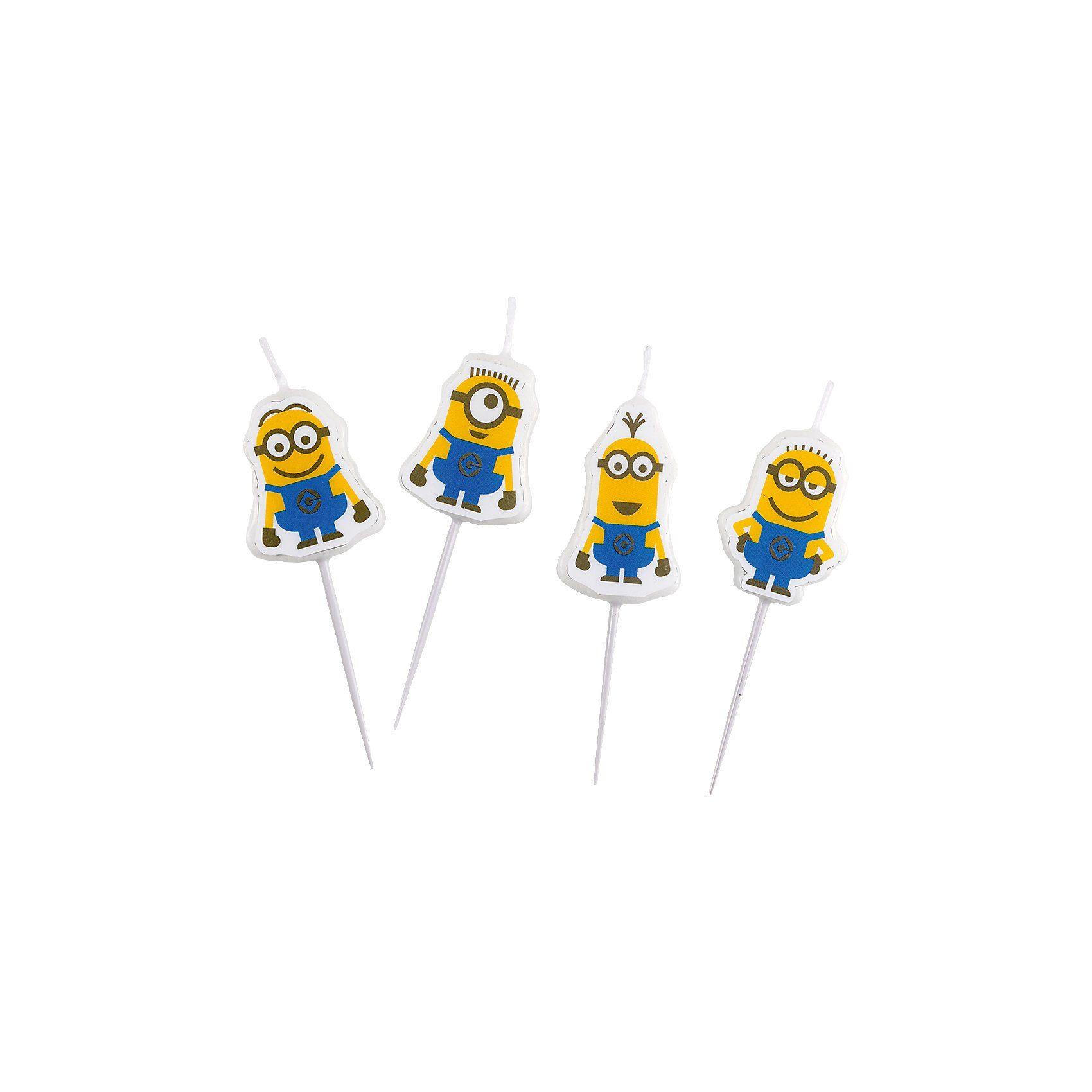 Amscan Mini-Figurenkerzen Minions, 4-tlg.