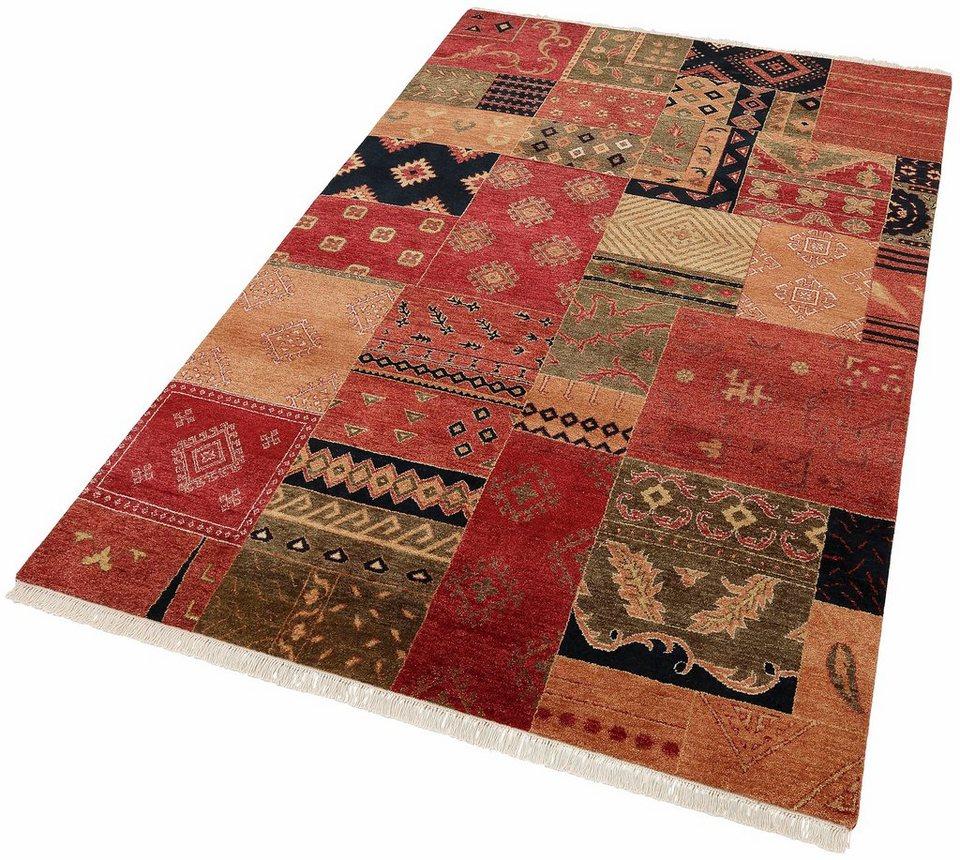 Orient-Teppich, Parwis, »Ferrara Patch«, handgeknüpft, reine Schurwolle, Unikat in rot