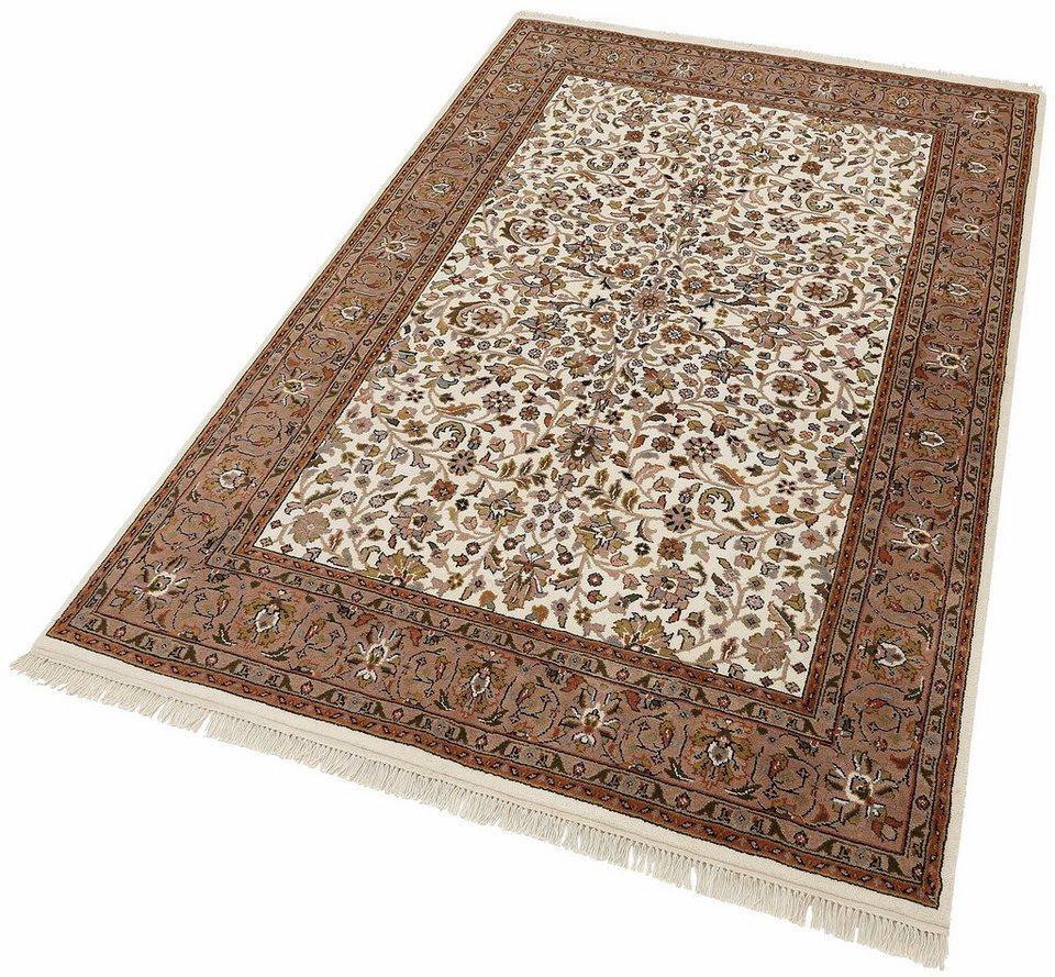 Unikat-Teppich, Parwis, »Mohammadi Täbriz«, 139 000 Knoten/m², handgeknüpft, 100% Schurwolle in creme