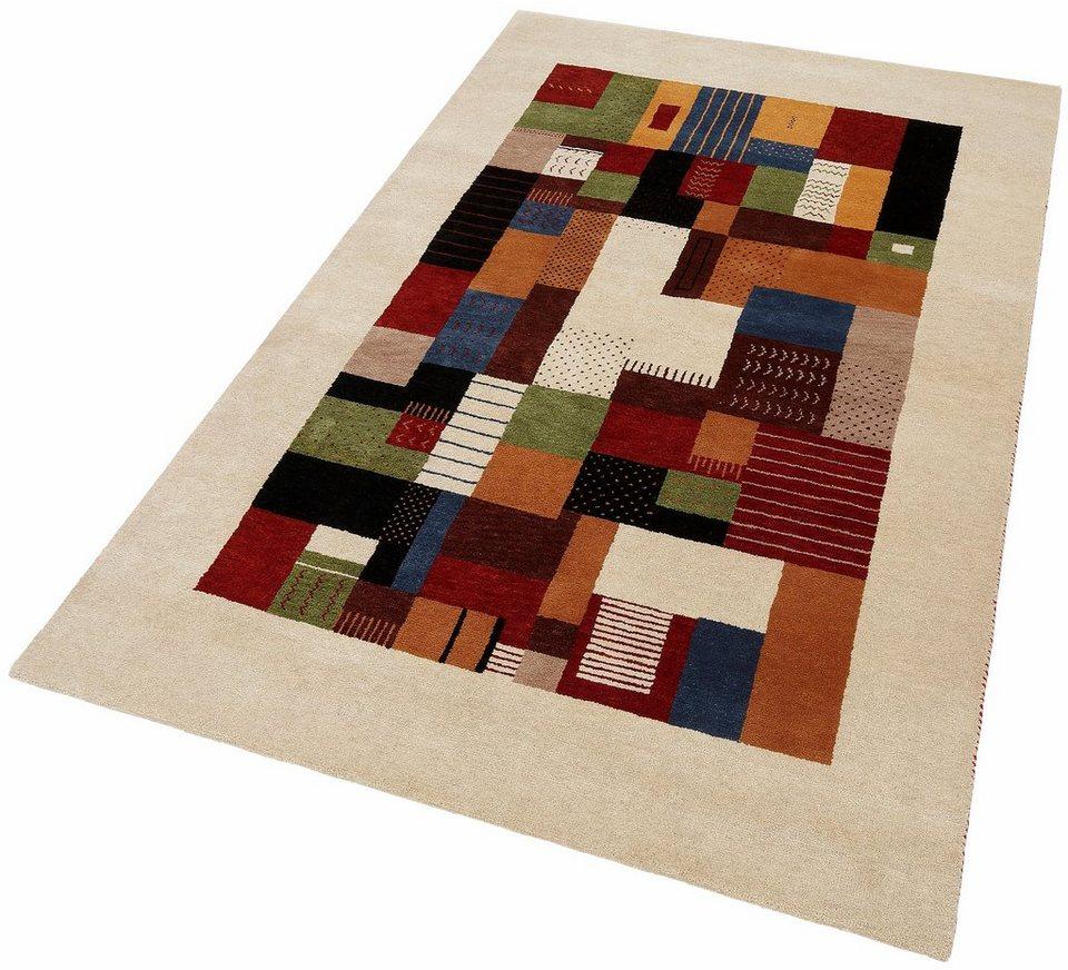 Teppich, Parwis, »Monza Gabbeh«, 53 500 Knoten/m², 4kg/m², handgeknüpft, Wolle in bunt