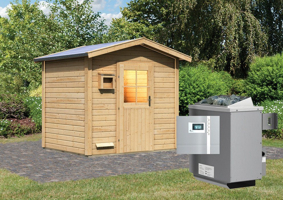 KARIBU Saunahaus »Bosse«, 231/196/235 cm, 9-kW-Bio-Ofen ext. Steuerung | Baumarkt > Bad und Sanitär > Sauna und Zubehör | Karibu