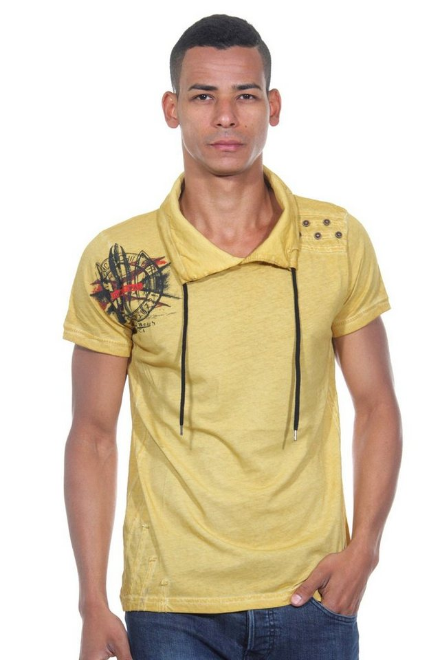 R-NEAL T-Shirt Schalkragen slim fit in gelb