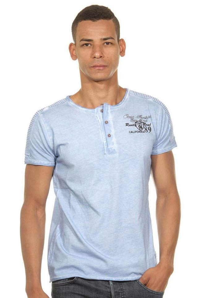 R-NEAL Henley T-Shirt slim fit in blau