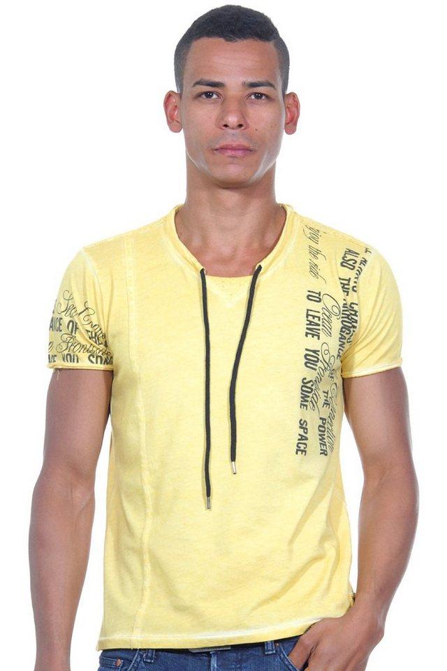R-NEAL T-Shirt Rundhals slim fit in gelb