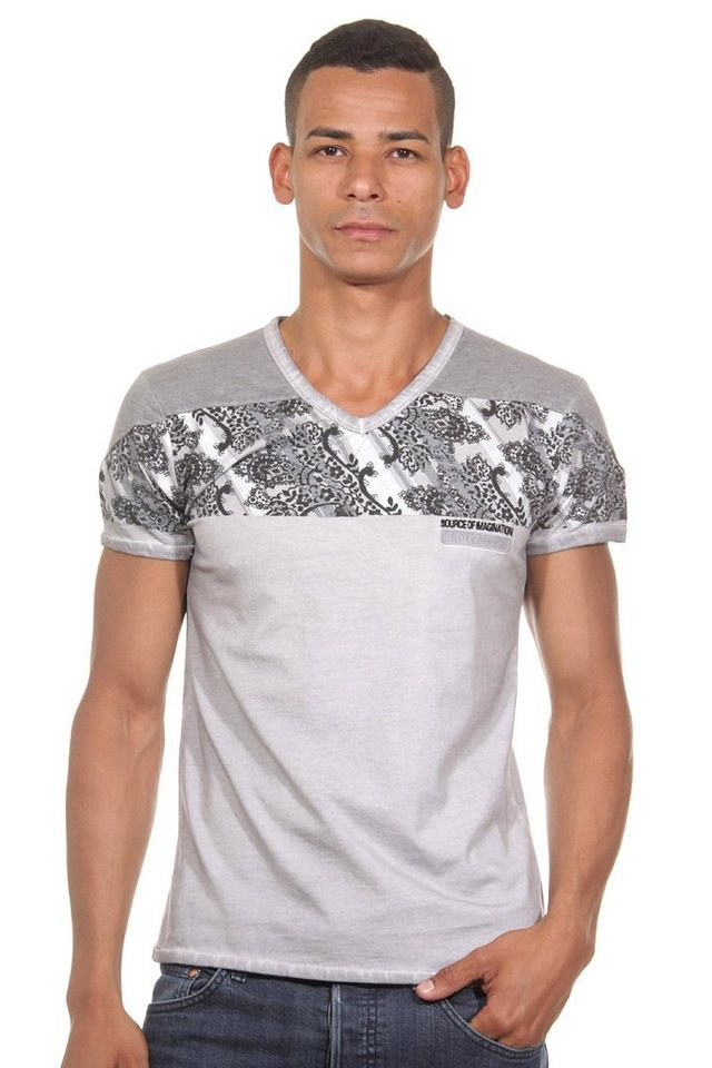R-NEAL T-Shirt V-Ausschnitt slim fit in grau
