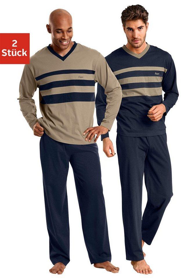 Le Jogger, Pyjamas (2 Stück), lang in marine+beige