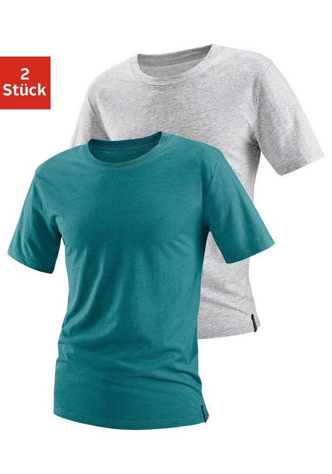 Bruno Banani T-Shirts (2 Stück) mit Rundhalsausschnitt in grün meliert + grau meliert