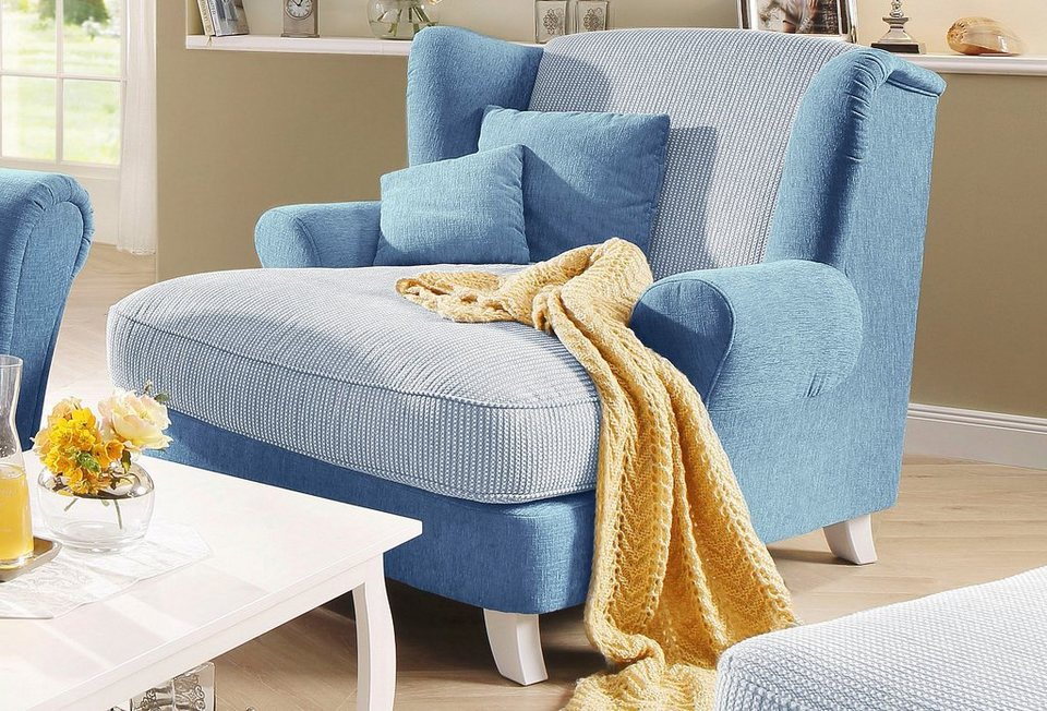 Home affaire Big-Sessel »Calia«, Struktur/Chenille in blau
