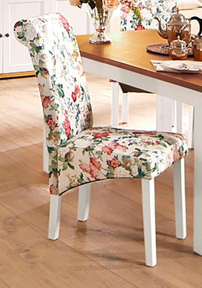 Stuhl, Home affaire, »Pablo«, mit Blumenmuster (2, 4 oder 6 Stck.) in Blume/weiß