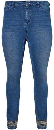 Junarose Slim-fit-Jeans »Five« mit Pailletten - Borte am Hosenbein
