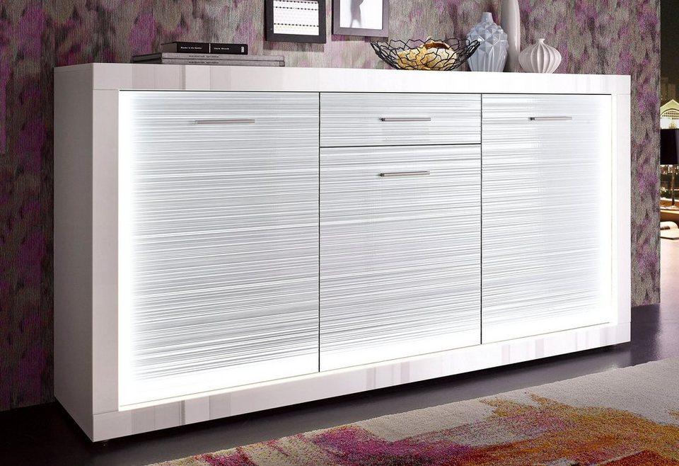 Sideboard, Breite 180 cm in weiß matt / weiß Hochglanz