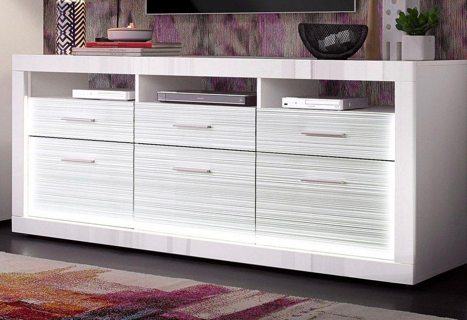 Lowboard, Breite 180 cm in weiß matt / weiß Hochglanz