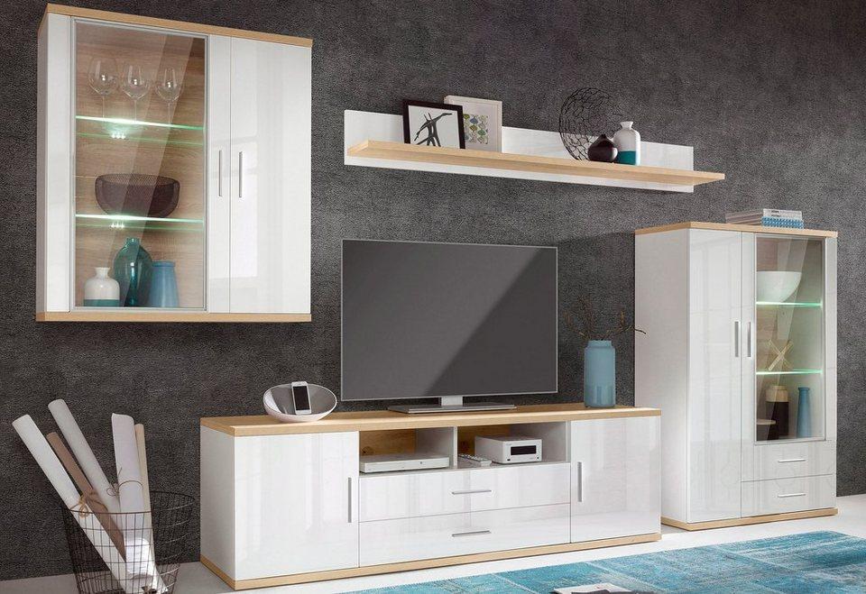 wohnwand arena 4 tlg breite 355 cm inkl beleuchtung online kaufen otto. Black Bedroom Furniture Sets. Home Design Ideas